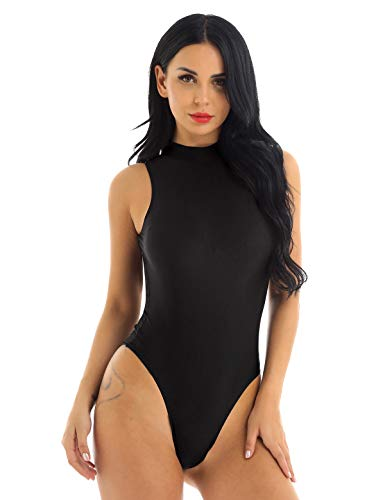 YiZYiF Damen Body Fitness Sportbody Ballett Trikot Ballettanzug Rückenfrei High Cut Bodysuit Leotard Tops Gymnastikanzug Tanzkleid Schwarz Medium