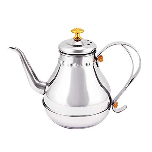 Hemoton Hervidor de té de 1,8 L para estufa, hervidor de cuello de cisne para verter sobre café, tetera, estufa, calentador de agua caliente para camping, hogar, cocina
