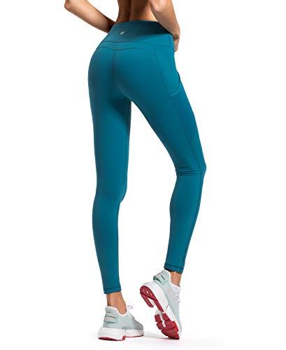 QUEENIEKE Damen Yoga Leggings Mesh Mittlere Taille 3 Handytasche Gym Laufhose Farbe See Blau Größe XXL(16)
