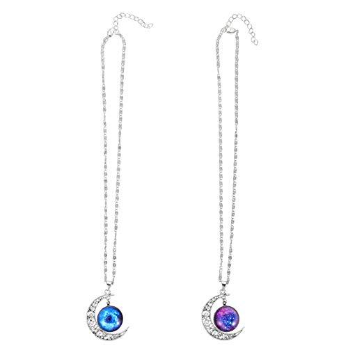 NUOBESTY Colar com 2 peças de gemas da lua, colar de sol e lua crescente, colar de lua, gargantilha, suéter, colar para mulheres, joia de presente