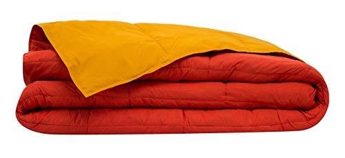 Casatex Edredón/Relleno nórdico Natural de plumón de oca de Cama Matrimonial - Bicolor - Color Naranja/Ocre