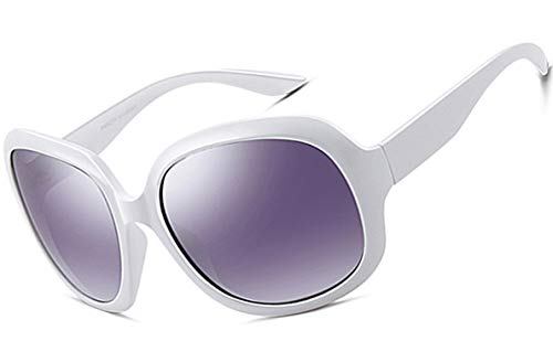 ATTCL Mujer vintage Oversized Gafas De Sol Polarizado Uv400 Protección 3113 white