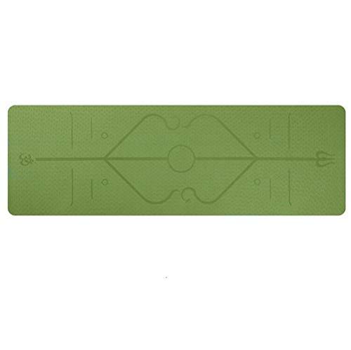 XIAOQBH Esterilla Yoga 1830 * 610 * 6 mm Yoga Mat con la posición de la línea no Slip Mat Alfombra for Principiantes Aptitud Ambiental colchonetas for Gimnasia Esterilla Deporte (Color : Green)