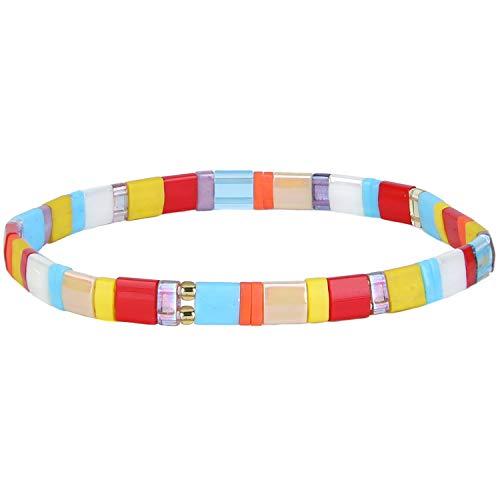 KANYEE Bracelets D'amitié Bracelets Perlés Tila Coloré Bracelets élastique Fait Main pour Femme – 40A