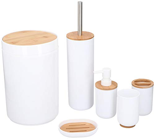 alpina Badezimmer Set - Bambus Bad Zubehörset - Toilettenzubehörset mit Lotionspender, Mülleimer, Zahnbürstenhalter, Zahnputzbecher, Toilettenbürste und Seifenschale - 6-Teilig