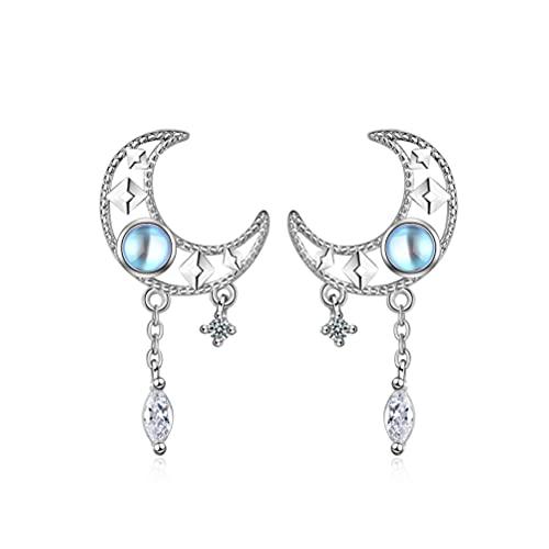 Pendientes de gota de luna para mujeres y niñas de plata de ley 925 con forma de gota de luna