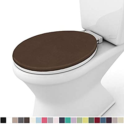 Gorilla Grip Original Thick Memory Foam Bath Room Toilet Lid Seat Cover, 19.5 Inch x 18.5 Inch Size, Machine Washable, Plush Fabric Covers, Fits Most Size Toilet Lids for Children's Bathroom, Brown
