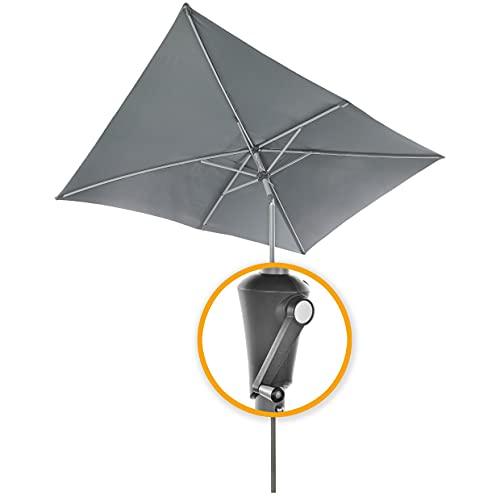 4smile Sonnenschirm rechteckig SunnyComfort – Aluminium - UV50+ Marktschirm mit Kurbel, 250x170cm mit Kurbel, knickbar, höhenverstellbar - hochwertiger Gartenschirm mit Air-Window