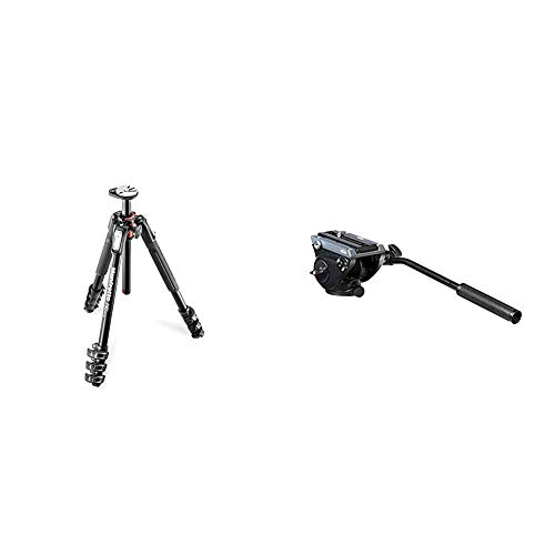 Manfrotto 190XPRO Aluminium 4 Section Tripod with Horizontal Column & MVH500AH, Lightweight Fluid Video Head with Flat Base, Sliding Plate for Rapid Camera Connection, Supports Multiple Tripods