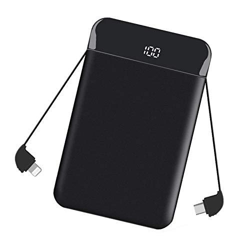 Powerbank Klein 9000mAh, Externer Akku Mini mit Type-C, Micro USB Kabel, Externer Batterie mit LCD-Anzeige Kompatibel mit iPhone, iPad, Huawei, Samsung - Schwarz MEHRWEG