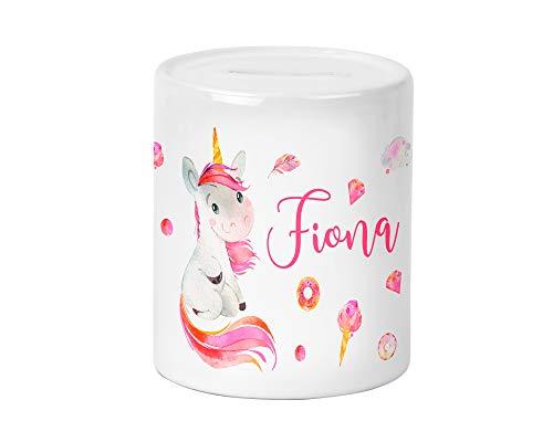 Yuweli Einhorn Unicorn Kinder-Spardose für Mädchen mit Namen personalisiert zur Einschulung Taufe Geburtstag Geburt Sparschwein Geldgeschenk