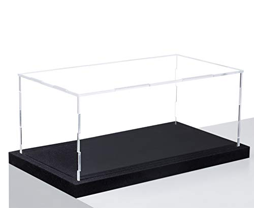 HEMYLU Acrylic Display Case with Lid, Rectangle Clean Acrylic Box with Black Velvet Disaply Stand for Collectibles (12.99x6.99x5.9 inch)