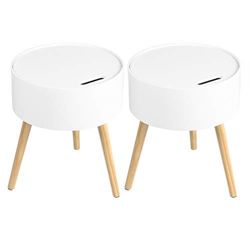 WOLTU Set di 2 Tavolini Moderni da Salotto Soggiorno Tavolino Rotondo Bianco da Caffè Comodino in Legno con Contenitore per Camera da Letto 38x45cm TS115ws-2
