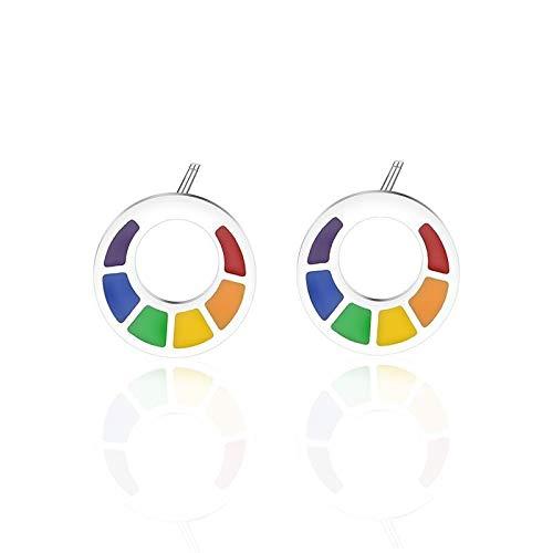 Arco iris colorido pendientes pendientes acero inoxidable geométrico triángulo pendiente gay orgullo hombres joyería masculina
