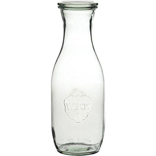 Saftflaschen mit Deckel, Einkochringen und Einweckklammern - Füllmenge: 1 Liter - 4 Stück