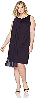 S.L. Fashions Women's Size Envelope Hem Pleat Front Dress Plus
