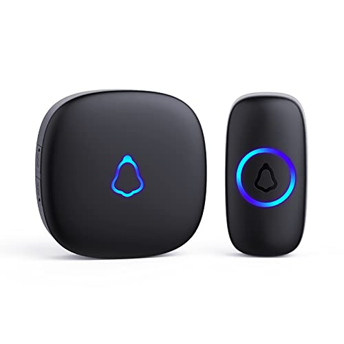 Wireless Doorbell, Waterproof Mini Doorbell 1,000ft Range Loud Enough with 5 Volume Levels and Mute Mode Door Chimes & Colorful LED Flashing - Black