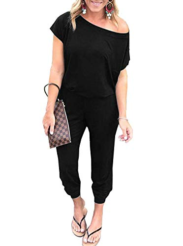 REORIA Women's Summer Casual Off Shoulder Short Sleeve Loose Jumpsuit Rompers with Pockets Black Medium