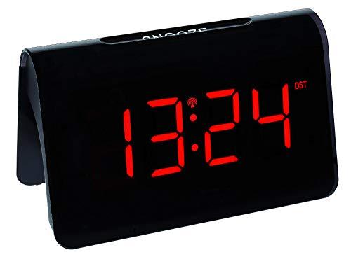 TFA 60.2543 Digitaler Funk Wecker ICON mit LED Leuchtziffern, mit Batterien (schwarz, rote Ziffern)