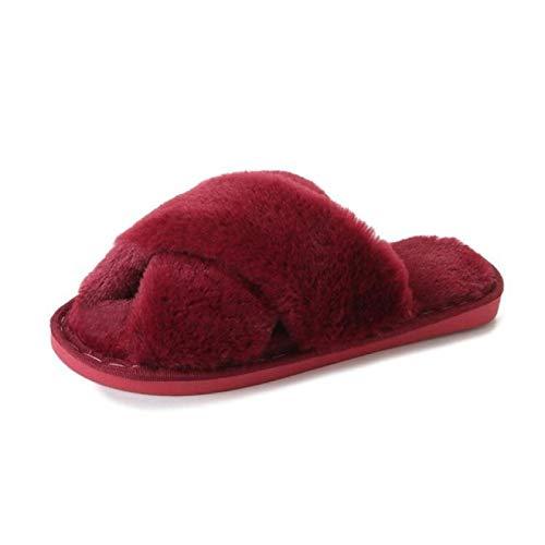 LLSPHYDY Zapatillas Mujer Mujer Sandalias mullidas de Invierno Sandalias Cruzadas de Felpa con Punta Abierta Zapatos Planos Suaves para Mantener el Calor