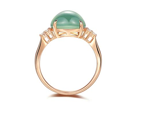 KnBob Women 6.6ct Prehnite Ring Oval Shape Green Ring for Marriage Engagement Anniversary Birthday 18K Rose Gold Size Q 1/2