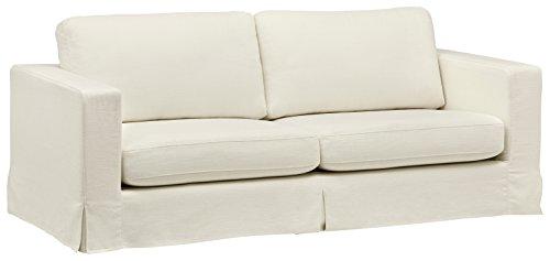 Amazon Brand – Stone & Beam Bryant Modern Sofa Couch with Slipcover, 85.1'W, Optic White