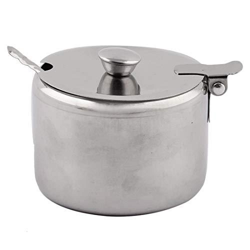 Zuccheriera in acciaio inox con cucchiaio, dispenser per zucchero a casa, in confezione regalo, colore: argento