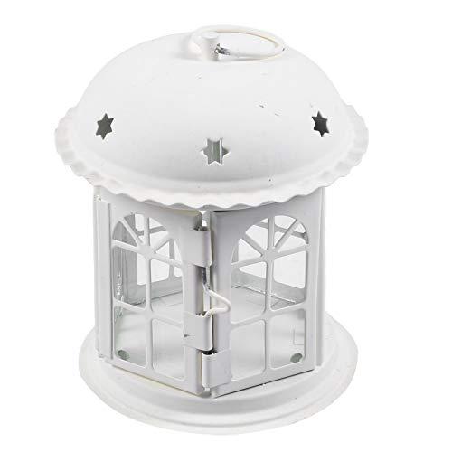 WINOMO Kerze Laternen Europäischen Stil Burg Form Tee Licht Halter Vintage Leuchter Laterne für Hochzeit Garten Home Mantel Desktop Ornament Weiß