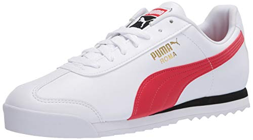 PUMA womens Roma Basic Sneaker, Puma White-high Risk Red, 9.5 US