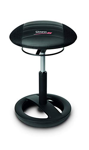 Topstar Sitness RS Bob, Sitzhocker, Arbeitshocker, Fitnesshocker mit Schwingeffekt, Stoff, schwarz, 38,5 x 38,5 x 57,0 cm