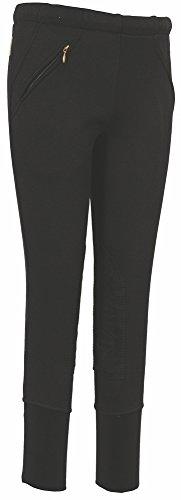 TuffRider Kid's Unifleece Pull-On Stretch Fleece Knee Patch Breeches, Black, 8