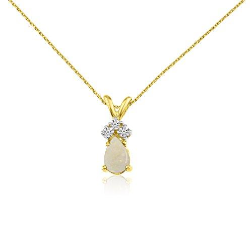 14K Amarillo Oro Opal Pear Colgante con Diamantes y cadena de 45cm