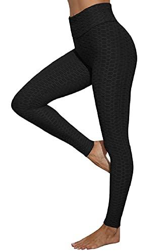 CMTOP Leggings Push Up Mujer Mallas Panal Arrugado Pantalones Deportivos Alta Cintura Elásticos Yoga Leggings Mujer Fitness Suaves Elásticos Cintura Alta (Negro, S)