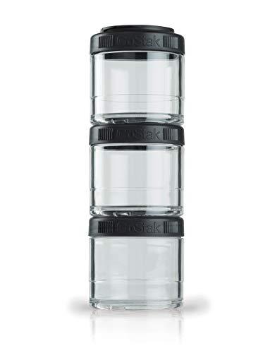 BlenderBottle GoStak Behälter, zum Aufbewahren von Protein, Eiweiß, Pulver, Vitaminen und mehr, 3er-Pack (3x100ml), schwarz