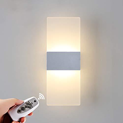 Moderne LED-Wandleuchte, 6W Dimmbare Acryl Wandlampen Mit Timer-Fernbedienung, Wandleuchte Für Schlafzimmer-Flur Am Bett, 110-240V [Energieklasse A],Silber
