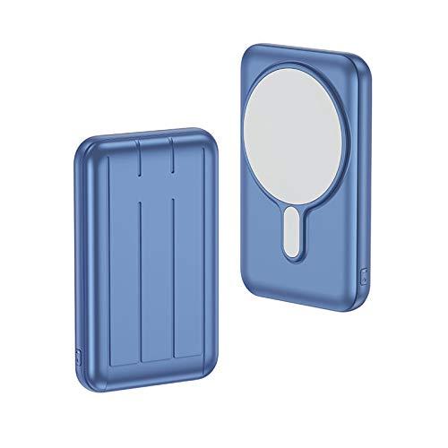 Cargador Inalámbrico Magnético Power Bank 10000mAh Cargador USB C 15W Carga Rápida Batería Externa Portátil para iPhone 12 12 Pro Max (azul)