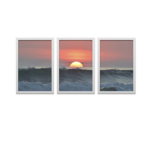 Conjunto Kit 3 Quadros Los Quadros Mar ao Pôr Do Sol Moldura Branca