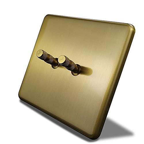 PJDOOJAE Interruptor de balancín oculto / 86 Tipo 1-4gang Panel de interruptores de pared Tipo 86 86 Tipo 2 Gold Gold 2 vías Barras Doble siempre interruptor de pared Panel eléctrico Metal Panel de pa