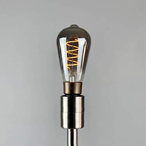 Accio Smart Home iluminación LED inalámbrica Edison espiral filamento ST64 4W E27, ecológico, compatible con Alexa, regulable, blanco cálido y blanco frío, gris, E27, 4.00W