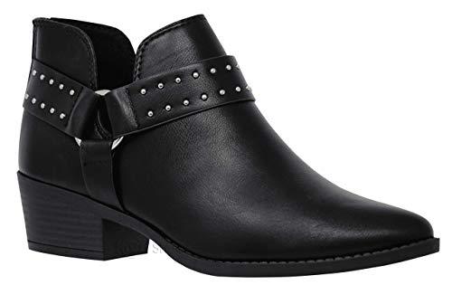 MVE Shoes Women's Cute Western Cowboy Bootie -Back Zipper up Low Heel...