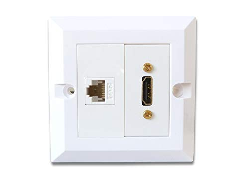 C4A Single HDMI And CAT6 Ethernet Wall Plate/Easy Connect Faceplate/White