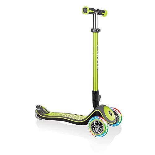 Globber Unisex Jugend Elite Deluxe, grün mit Leuchtrollen Scooter, One Size