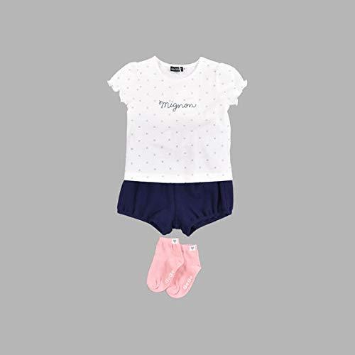 ベベ 【ギフトBOX付き】 ベビー ギフト 3点 セット ドット プリント Tシャツ + かぼちゃパンツ【ネイビー系/90cm】