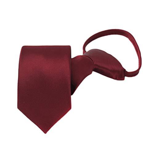 Dongxiao Formale Nodo Libero di Affari Maschio del Legame della Chiusura Lampo dello Sposo di Cerimonia Nuziale pigra Rossa del Vino Cravatta (Color : Red)