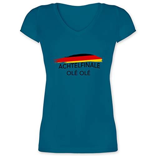 Fußball-Europameisterschaft 2021 - Deutschland Achtelfinale Olé Olé - 3XL - Türkis - WM - XO1525 - Damen T-Shirt mit V-Ausschnitt