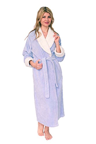 Bath & Robes Women's Soft Cotton Chenille Wrap Bathrobe Lavender Blush Large