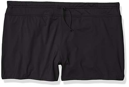 24th & Ocean Women's Standard Front Tie Swim Short Bikini Swimsuit Bottom, Black//Solid, Medium