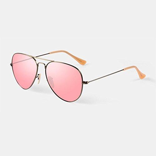 Gafas Cristal Lentes Anti Ultravioleta Gafas de Sol Diseño Unisex Púrpura Rosa (Color : Pink)