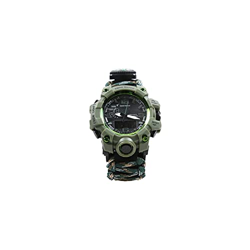 8-in-1 Adjustable Survival Watch, Waterproof Survival Luminous Watch for men and women with umbrella-rope-compass-Flintstone-Whistle-LEDlight-scraper-Suitable for hiking,camping,fishing(Mountain Camo)