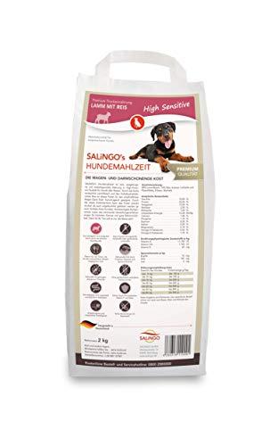 SALiNGO High Sensitive Hundefutter trocken, Trockenfutter Lamm und Reis, zuckerfrei, Single Protein, für Sensible Hunde mit hohem Fleischanteil, 2kg